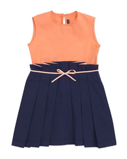 Fendi Sleeveless Colorblock Combo Dress, Navy, 2-5