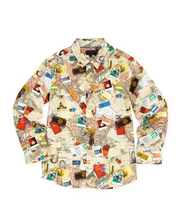 Paul Smith Toddler Boys' World-Map Button-Down Shirt, Sizes 2-6