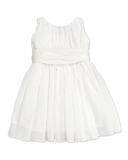 Helena Girls' Shirred Georgette Dress, White,  4-6X