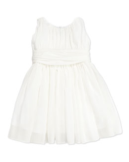 Helena Toddler Girls' Shirred Georgette Dress, White,  2T-3T