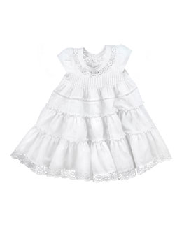 Lili Gaufrette Tiered Cotton Dress, White, 2Y-6Y