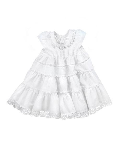 Tiered Cotton Dress, White, 2Y-6Y