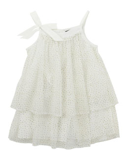 Lili Gaufrette Glitter Layered Tulle Dress, Ivory, 2Y-6Y