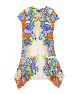 Roberto Cavalli Printed Drop-Waist Jersey Dress, 2-6