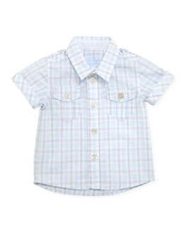 Tartine et Chocolat Short-Sleeve Plaid Shirt, Light Blue, 1m-18m