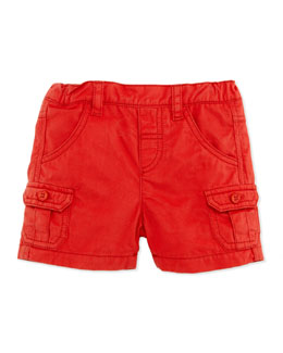 Tartine et Chocolat Patch-Pocket Twill Shorts, Red, 1m-18m