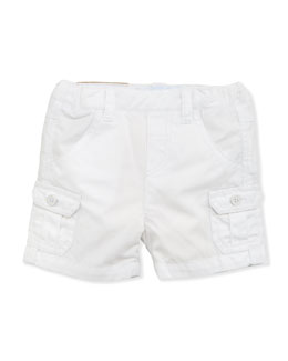 Tartine et Chocolat Patch-Pocket Twill Shorts, White, 1m-18m