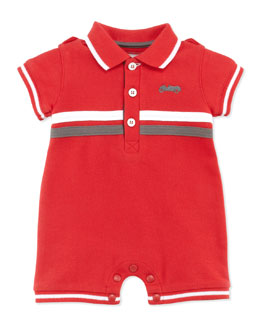 Tartine et Chocolat Pique-Knit Polo Playsuit, Red, 1m-18m
