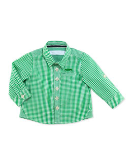 Tartine et Chocolat Gingham-Check Long-Sleeve Shirt, Green, 1m-18m