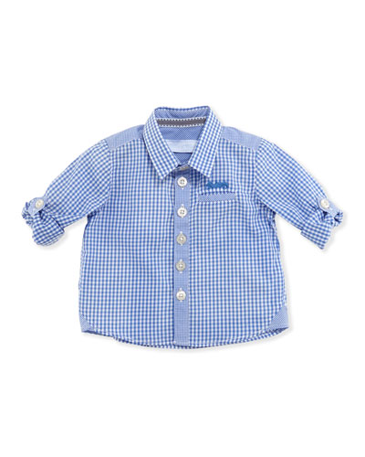 Tartine et Chocolat Gingham-Check Long-Sleeve Shirt, Blue, 1m-18m