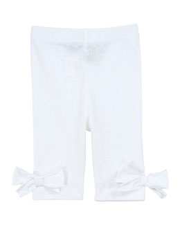 Lili Gaufrette L'Orange Bow-Detail Pants, White, 3-18 Months