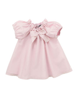 Lili Gaufrette Lunette Cotton/Silk Dress with Bloomer, Light Pink, 3-18 Months
