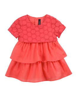 Lili Gaufrette Lady Layered Dress with Bloomer, Papaye, 3-18 Months