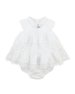 Lili Gaufrette La Blanche Dress with Bloomers, Papaye, 3-18 Months