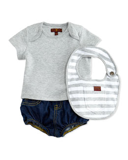 7 For All Mankind Diaper Cover with Tee & Bib, Indigo, 0-9 Months