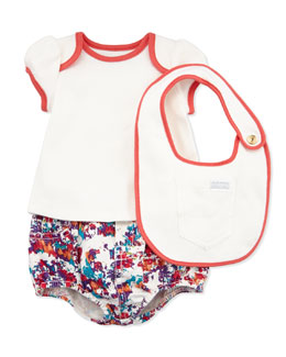 7 For All Mankind Diaper Cover with Tee & Bib, Mysterious Floral, 0-9 Months