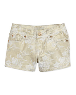 7 For All Mankind Girls' Metallic Floral-Print Shorts, White Gold, 8-10
