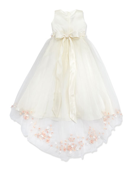 Rosette and Pearly Bead-Embellished Dress, Ivory/Pink