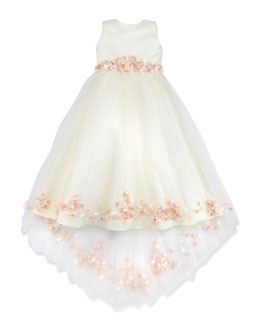 Joan Calabrese Rosette and Pearly Bead-Embellished Dress, Ivory/Pink