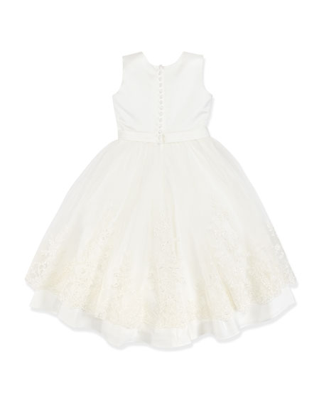 Joan Lace-Detail Satin/Tulle Dress, 4-10