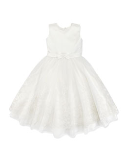 Joan Calabrese Joan Lace-Detail Satin/Tulle Dress, 4-10