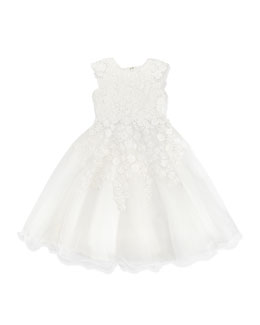 Joan Calabrese Satin/Tulle Daisy Lace Dress, 4-10