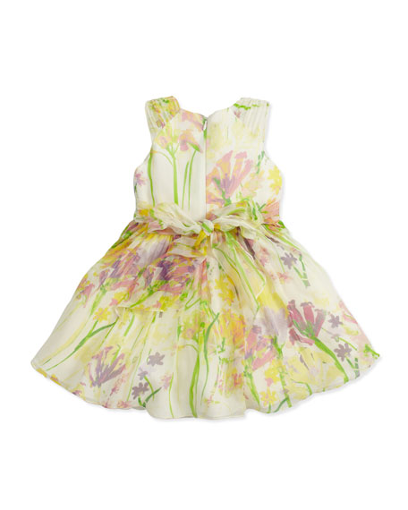 Floral-Print Silk Dress, Green/Yellow, 2Y-10Y
