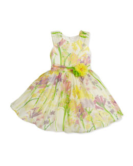 David Charles Floral-Print Silk Dress, Green/Yellow, 2Y-10Y