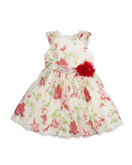 David Charles Floral-Print Silk Dress, Ivory/Red, 2Y-10Y