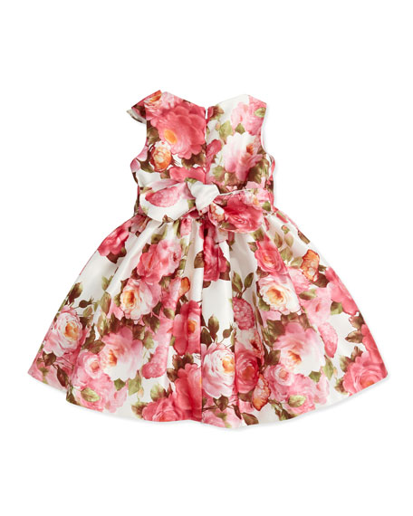 Rose-Print Satin Dress, Pink, 2Y-10Y