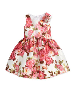 David Charles Rose-Print Satin Dress, Pink, 2Y-10Y