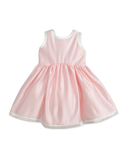 David Charles Satin Dress with V'd Back, Pink/Ivory, 2Y-10Y