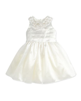 David Charles Organza Jewel-Collar Dress, Ivory, 2Y-10Y