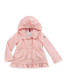 Moncler Noemie Nylon Hooded Jacket, Light Pink, Girls' 2T-6