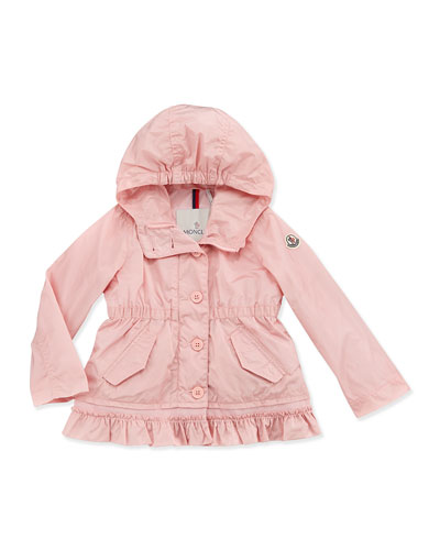Noemie Nylon Hooded Jacket, Light Pink, Girls