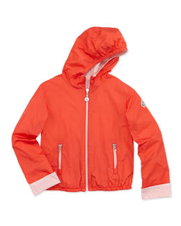 Moncler Thea Reversible Nylon Jacket, Coral, Girls' 8-10