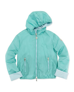 Moncler Thea Reversible Nylon Jacket, Turquoise, Girls' 8-10