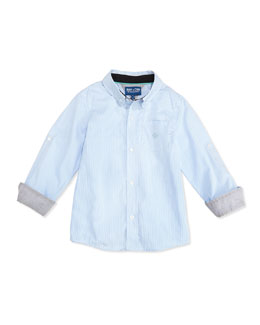 Andy & Evan Checkmate: Mini-Check Dress Shirt, Light Blue, 2T-7