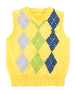 Andy & Evan East'er Eyes on This Argyle Vest, Yellow, 2T-4T