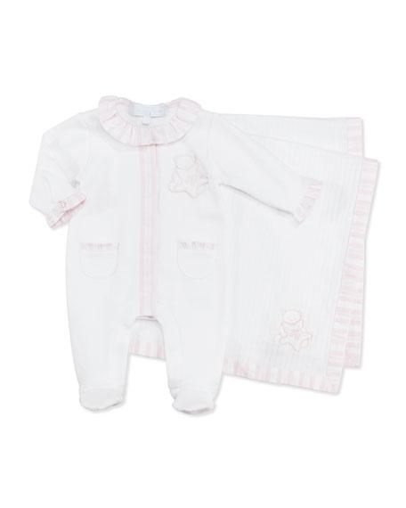 Footie & Blanket Gift Set, Light Pink