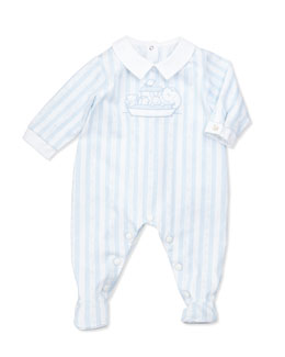 Tartine et Chocolat Boys' Striped Footie Pajamas, Light Blue, NB-18m