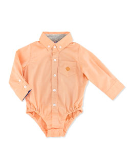 Andy & Evan Little S'Collar Twill Shirtzie, Orange, 3-24 Months