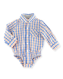 Andy & Evan Lord of The Gings Check Shirtzie, Orange, 3-24 Months