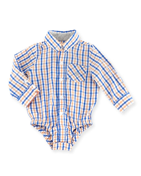 Lord of The Gings Check Shirtzie, Orange, 3-24 Months
