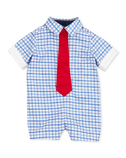 Andy & Evan Check-Poplin Shortall with Tie, Light Blue