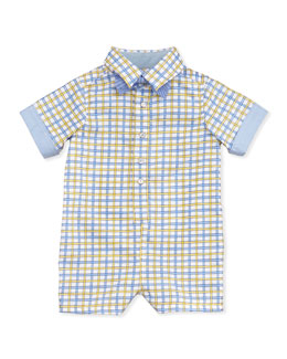 Andy & Evan Check-Poplin Shortall with Bow-Tie, Yellow