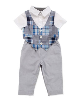 Andy & Evan One-Piece Patchwork-Vest & Pant Set