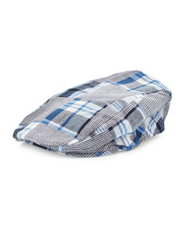 Andy & Evan Patchwork-Plaid Newport News Hat, Blue