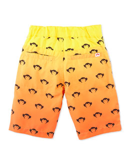Appaman Logo Ombre Swim Trunks, Orange/Yellow, Boys' 2T-10