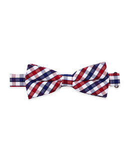 Appaman Gingham Check Bow Tie, Blue